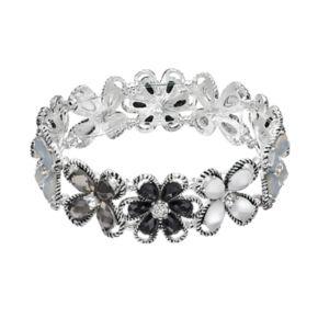 Dana Buchman Black Flower Stretch Bracelet