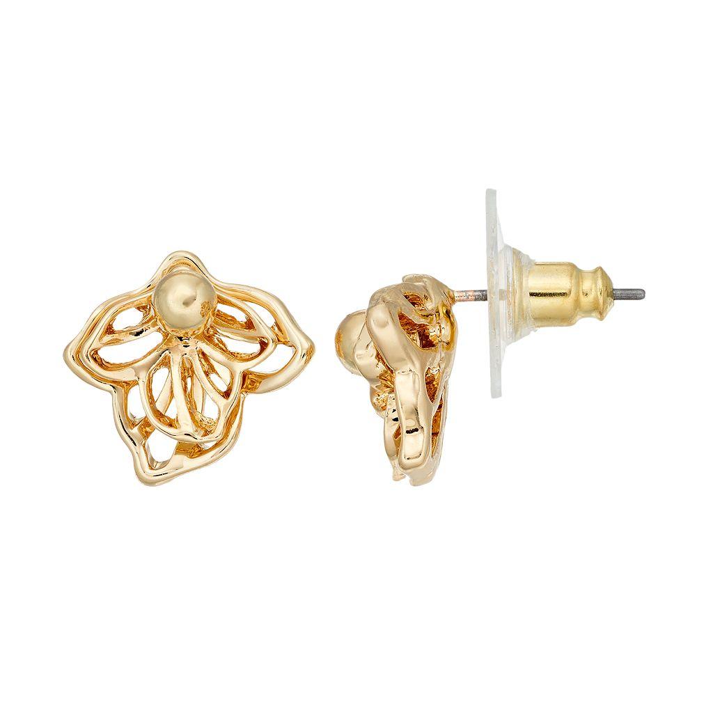 Dana Buchman Layered Flower Nickel Free Drop Earrings
