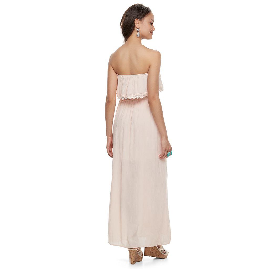 Juniors' Hint of Mint Crochet Strapless Maxi Dress
