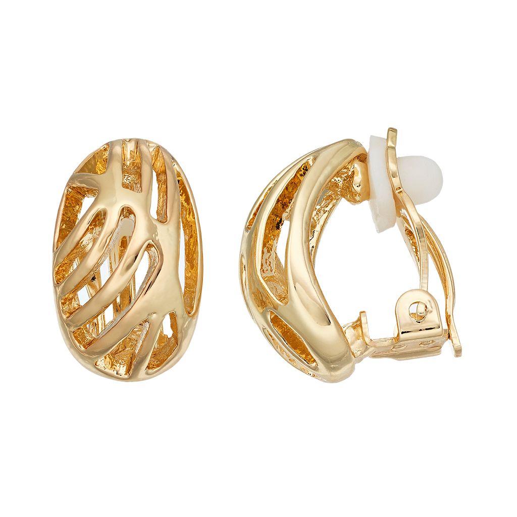 Dana Buchman Openwork Oval Nickel Free Clip On Earrings