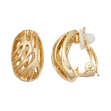 Dana Buchman Openwork Oval Nickel Free Clip On Earrings