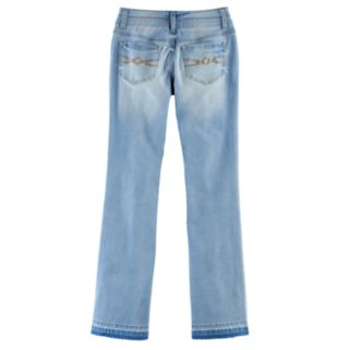 Girls 7-16 & Plus Size Mudd® Embroidered Flower Ripped Double-Button Skinny Bootcut Jeans