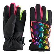 Girls 4-16 SO® Rainbow Foil Heart Thinsulate Ski Gloves