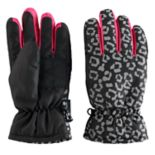 Girls 4-16 SO® Leopard Print Thinsulate Ski Gloves