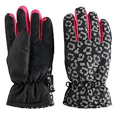 Girls 4-16 SO® Leopard Print Thinsulate Ski Gloves