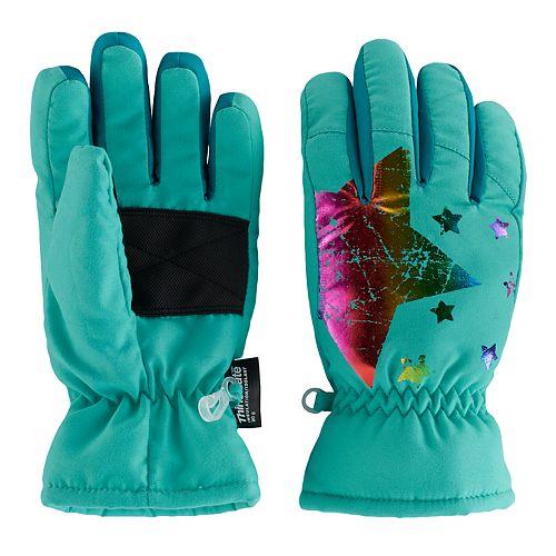 Girls 4-16 SO® Rainbow Foil Print Star Ski Gloves