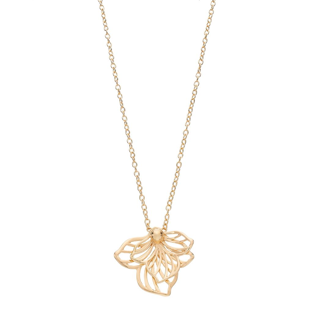 Dana Buchman Openwork Flower Pendant Necklace