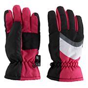 Girls 4-16 SO® Colorblock Panel Ski Gloves