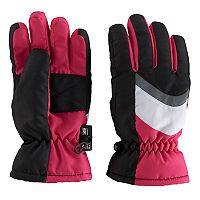 Girls 4-16 SO® Colorblock Panel Ski Gloves