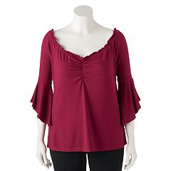 Juniors' Plus Size Candie's® Bell Sleeve Off-the-Shoulder Top