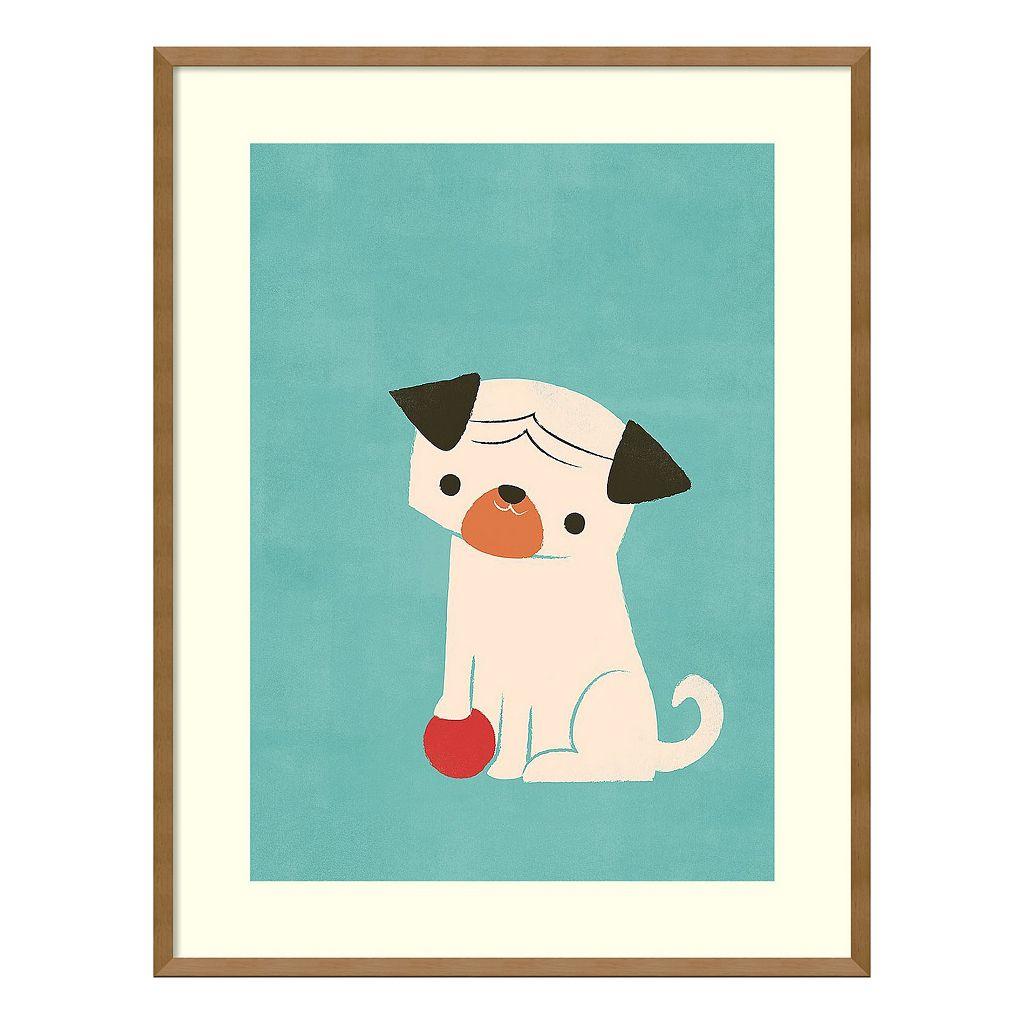 Amanti Art My Red Ball Pug Puppy Framed Wall Art