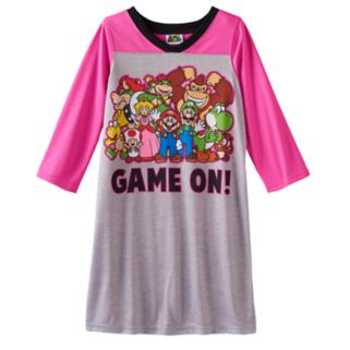 "Girls 4-10 Mario Life of the Party ""Game On!"" Dorm Nightgown"