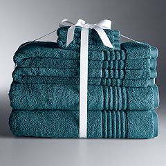 Simply Vera Signature 6 Piece Bath Towel Set Celadon Charcoal Dark Teal