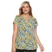 Plus Size Dana Buchman Printed Peplum Shirt