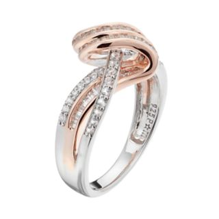 Two Tone Sterling Silver Lab-Created White Sapphire Swirl Ring