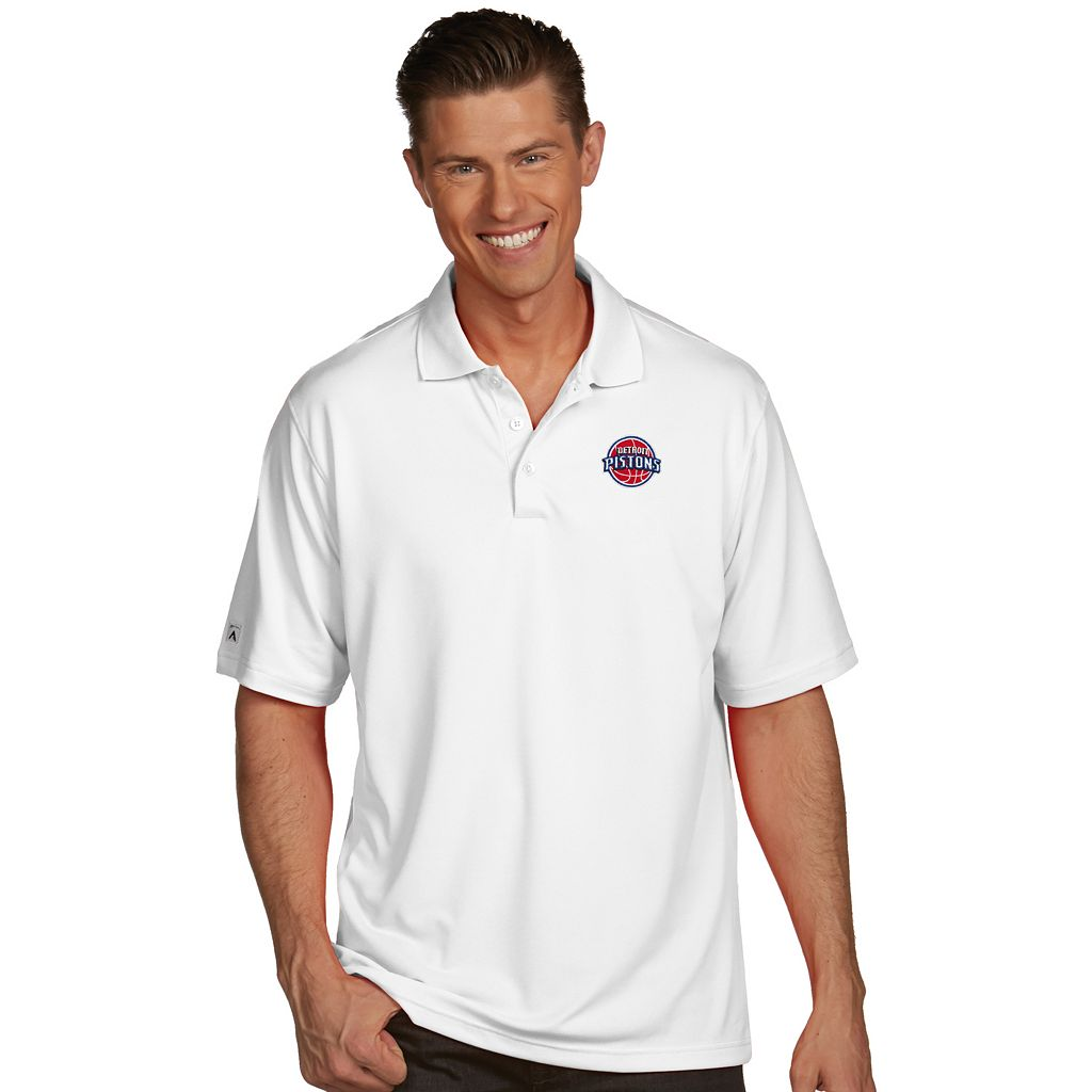 Men's Antigua Detroit Pistons Pique Xtra-Lite Polo