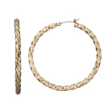 Dana Buchman Twisted Nickel Free Hoop Earrings