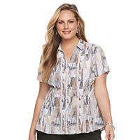 Plus Size Dana Buchman Release-Pleat Blouse