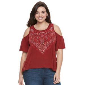 Juniors' Plus Size Mudd® Print Cold Shoulder Top