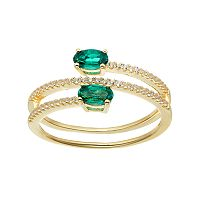 14k Gold Over Silver Lab-Created Emerald & White Sapphire Bypass Ring
