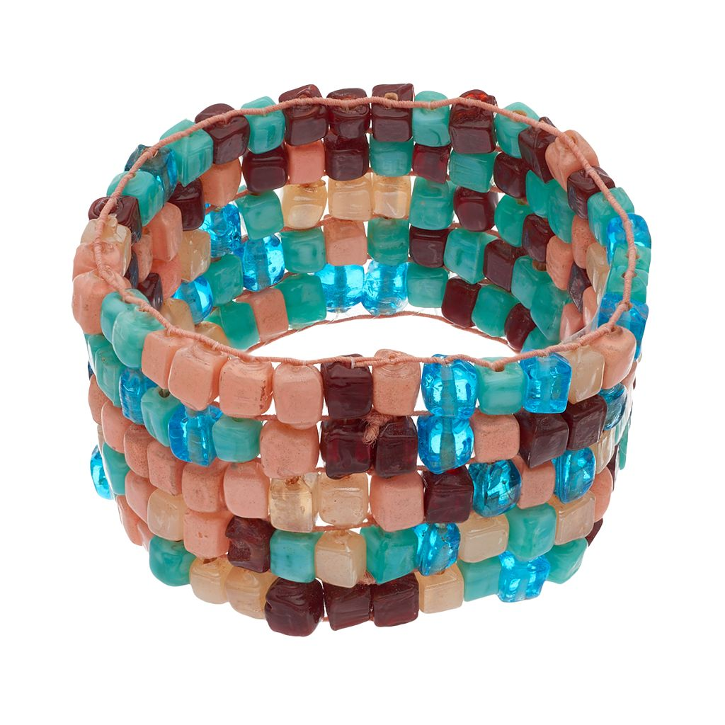Mudd® Mosaic Glass Bead Stretch Bracelet
