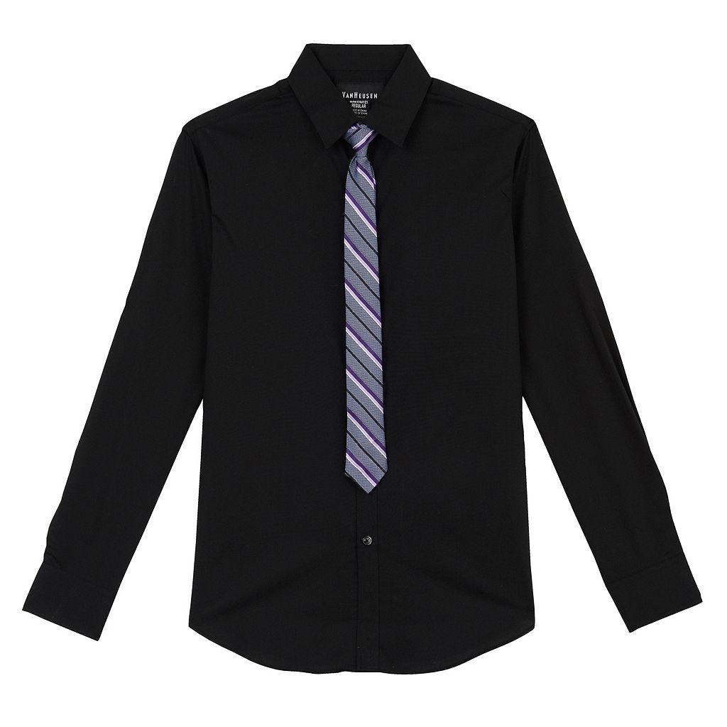 Boys 8-20 Van Heusen Solid Shirt & Striped Tie Set