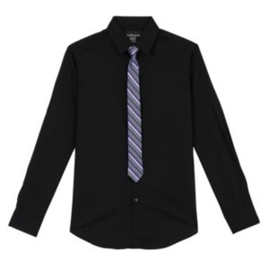 Boys 8-20 Van Heusen Solid Shirt & Striped Tie Set