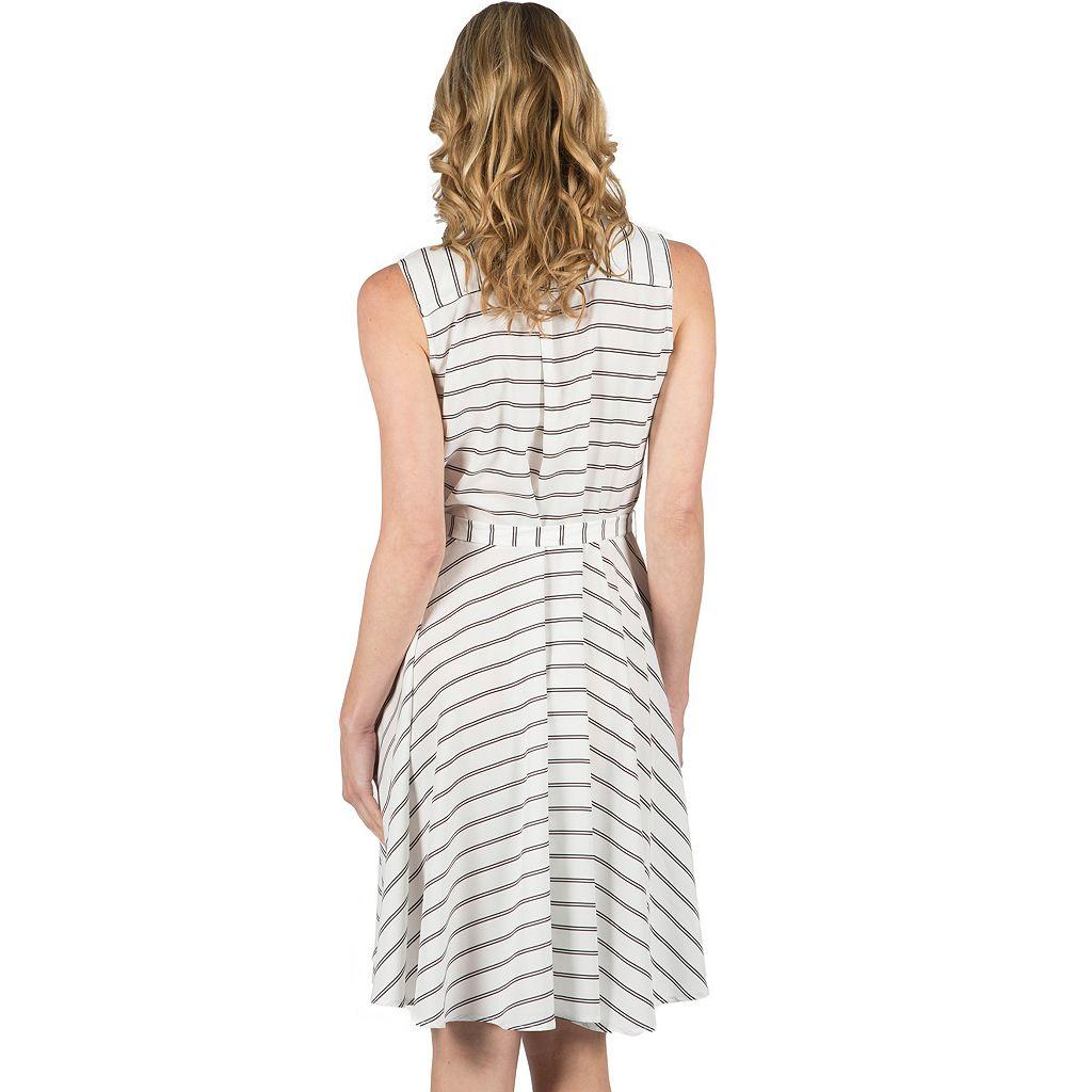 Women's Larry Levine Fit & Flare Stripe Dress
