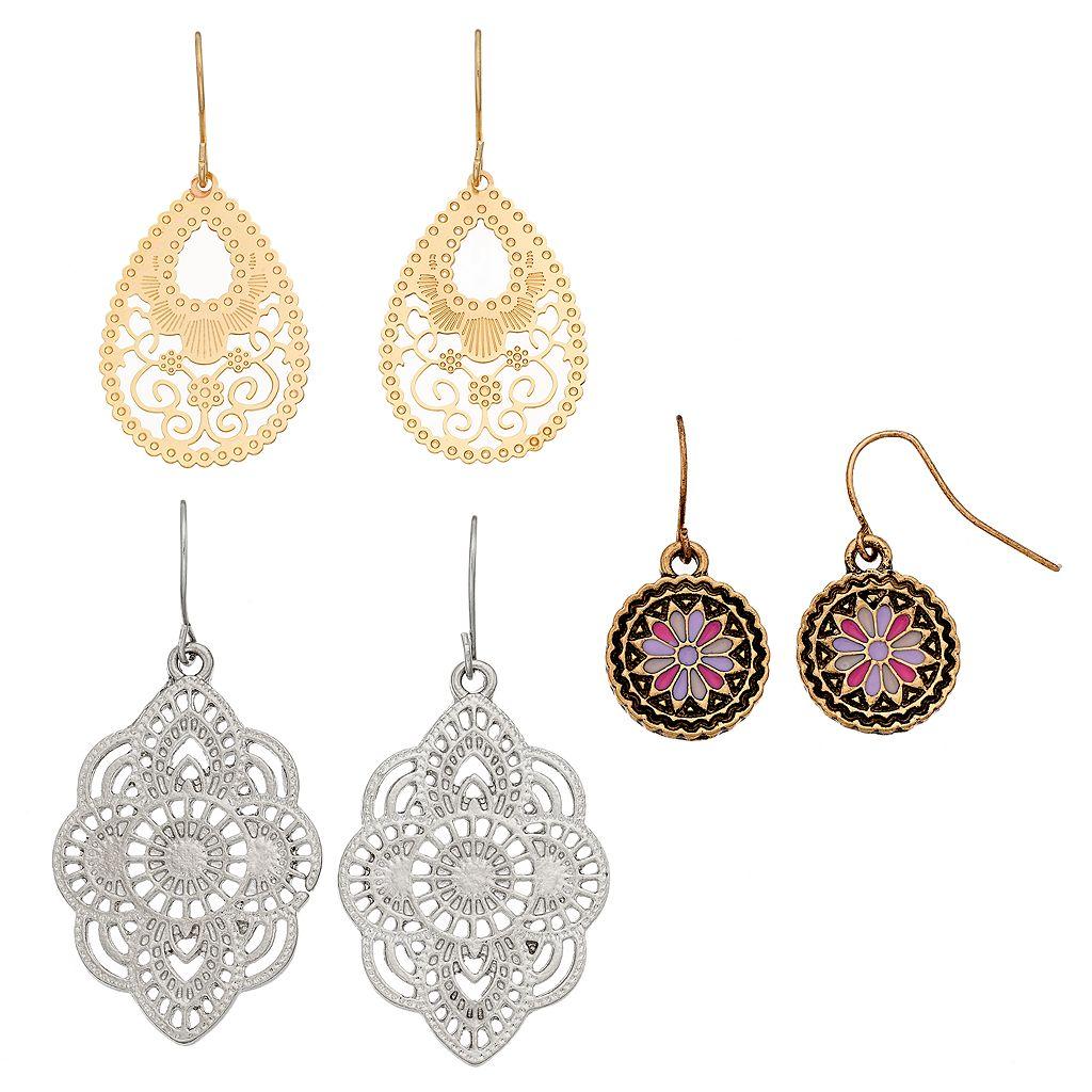 Mudd® Nickel Free Filigree & Medallion Drop Earring Set