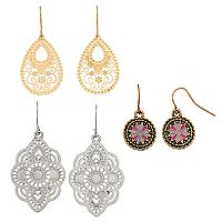 Mudd® Nickel Free Filigree & Medallion Drop Earring Set