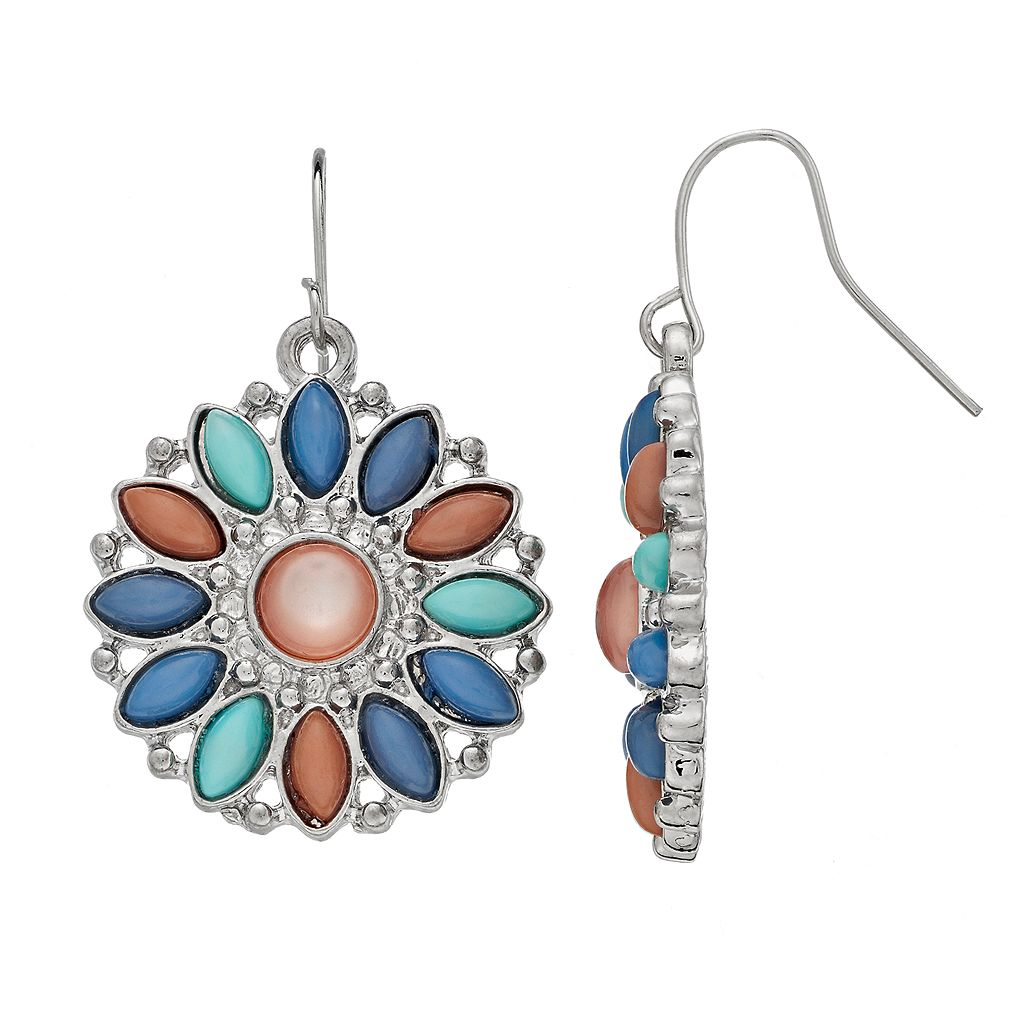 Mudd® Nickel Free Marquise Stone Medallion Drop Earrings