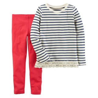 Girls 4-8 Carter's Striped Top & Solid Leggings