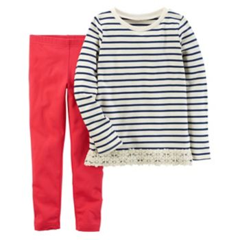 Girls 4-8 Carter's Striped Top & Solid Leggings