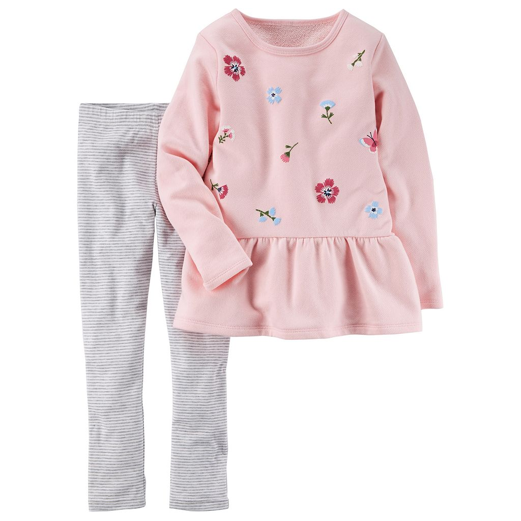 Girls 4-8 Carter's Floral Peplum Top & Striped Leggings