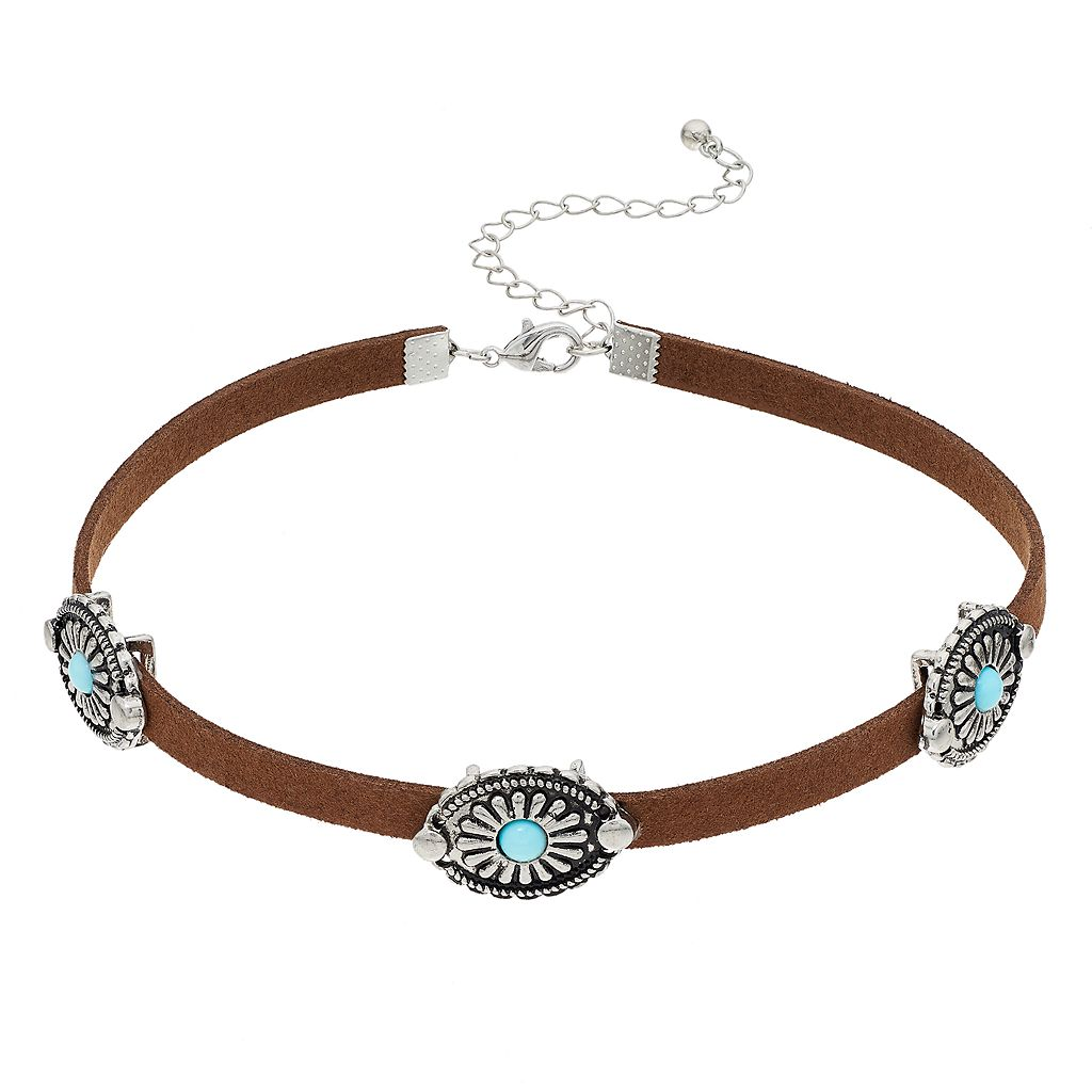 Mudd® Simulated Turquoise Concho Choker Necklace