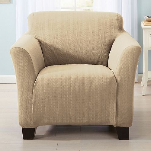 Home Fashion Designs Luxurious Cable-Knit Stretch Chair Slipcover