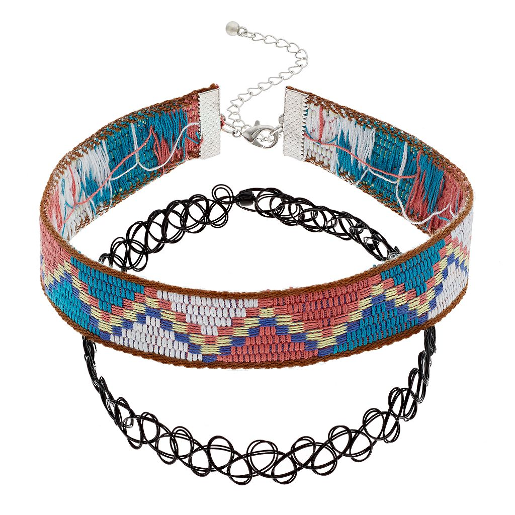 Mudd® Woven Zigzag & Tattoo Choker Necklace Set