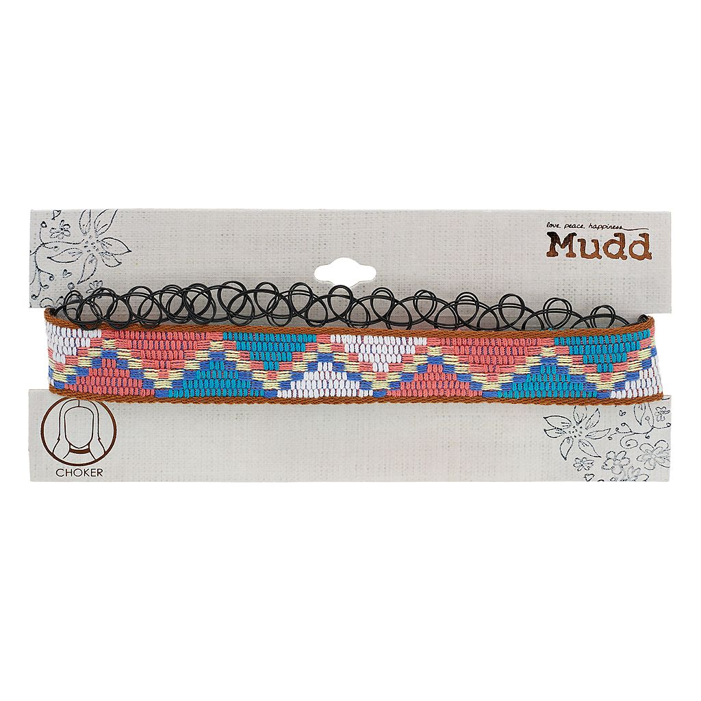 Mudd® Woven Zigzag & Tattoo Choker Necklace Set