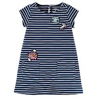 Girls 4-8 Carter's Embroidered Patch Striped Dress
