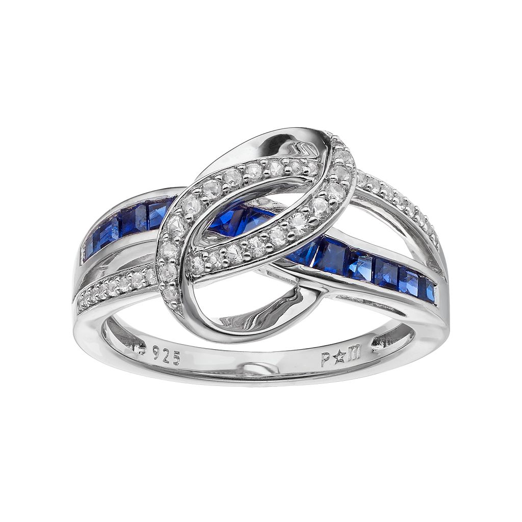 Sterling Silver Lab-Created Blue & White Sapphire Swirl Ring