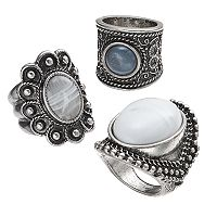 Mudd® Antiqued Cabochon Ring Set