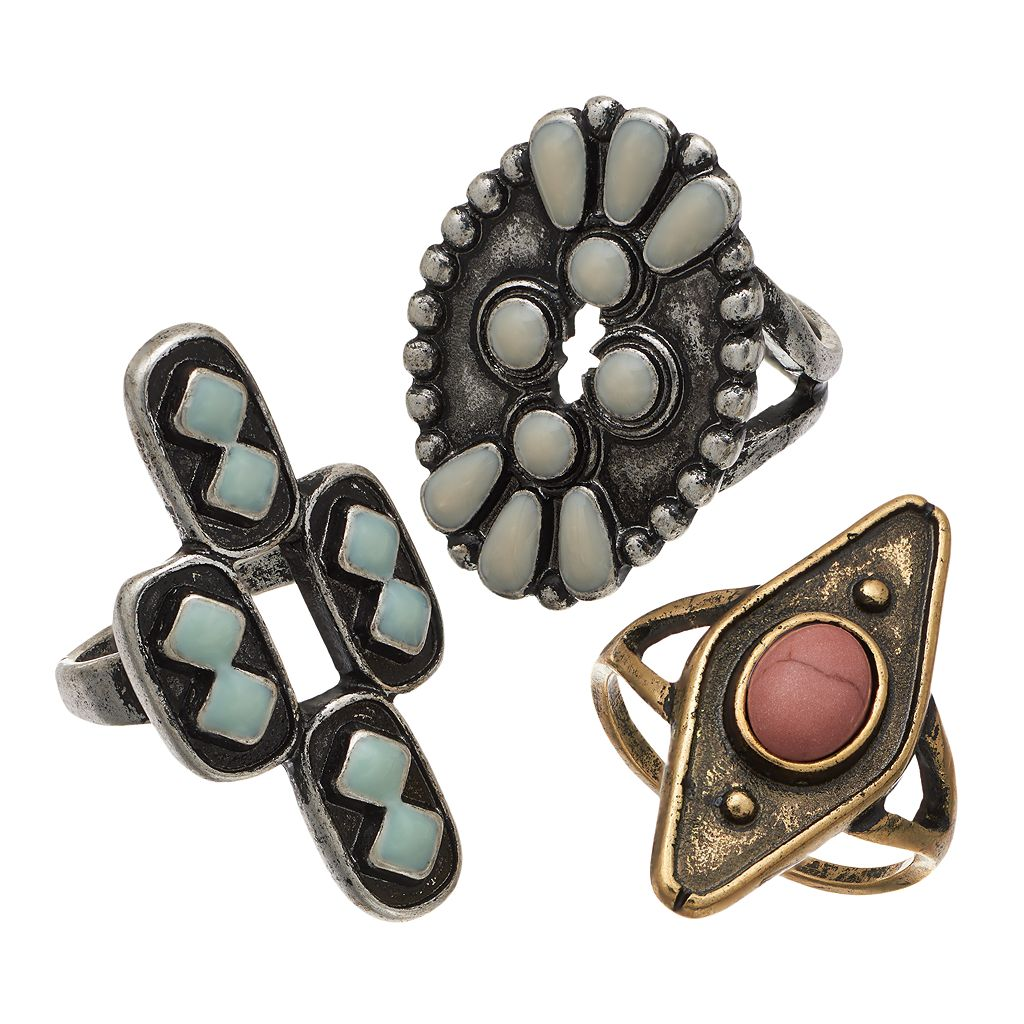 Mudd® Antiqued Geometric Ring Set
