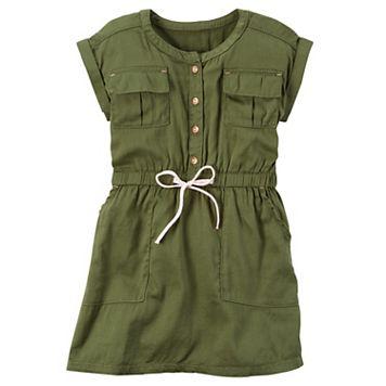 Girls 4-8 Carter's Olive Pocket Dress