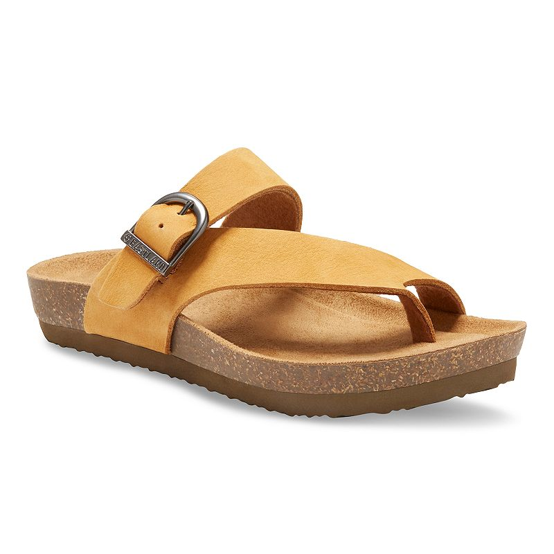 A warm-weather classic gets a feminine update with these women\'s Shauna sandals from Eastland.SANDAL FEATURES Backless design Adjustable buckle strap SANDAL CONSTRUCTION Leather upper Polyester lining Rubber outsole SANDAL DETAILS Open toe Slip-on Memory foam footbed 1-in. platform  Size: Medium (11). Color: Med Brown. Gender: female. Age Group: adult.