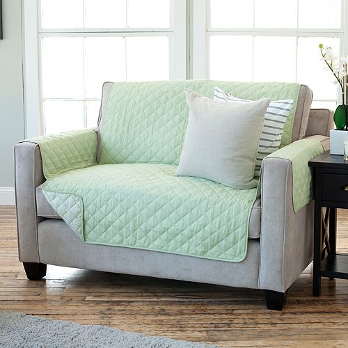 Home Fashion Designs Luxe Reversible Stain Resistant Loveseat Slipcover