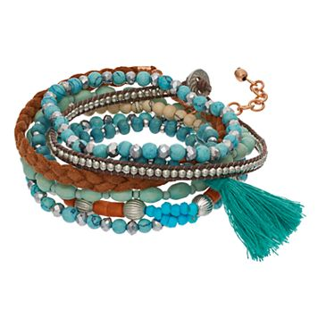 Mudd® Simulated Turquoise Beaded Tassel Multi Strand Bracelet