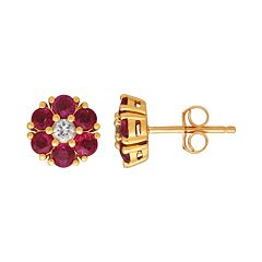 10k Gold Ruby & White Sapphire Flower Stud Earrings