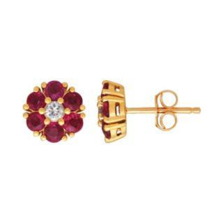 10k Gold Ruby & White Sapphire Flower Stud Earrings