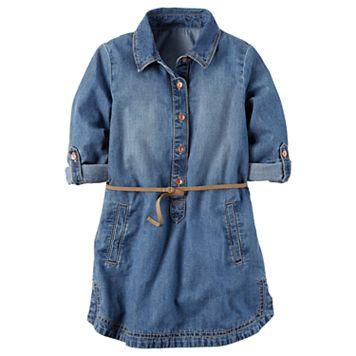 Girls 4-8 Carter's Belted Chambray Shirt Dress