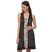 Juniors' Wallflower Crochet Vest & Swing Dress